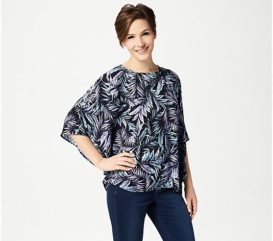 Quacker Factory Palm Printed Caftan Top with Rhinestones