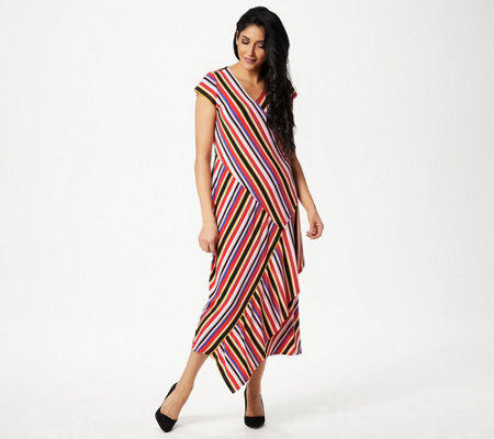 Du Jour Striped Wrap Knit Midi Dress