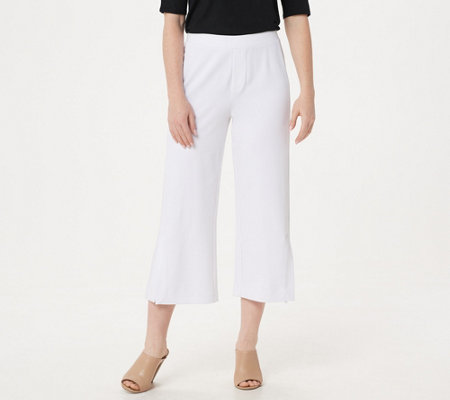 H by Halston Petite Ultra Knit Cropped Wide-Leg Pants with Front Vent