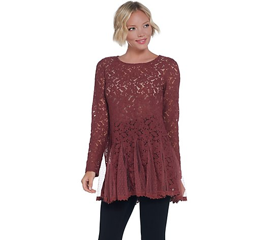 """As Is"" LOGO Lavish by Lori Goldstein Sheer Lace Top with Godets"
