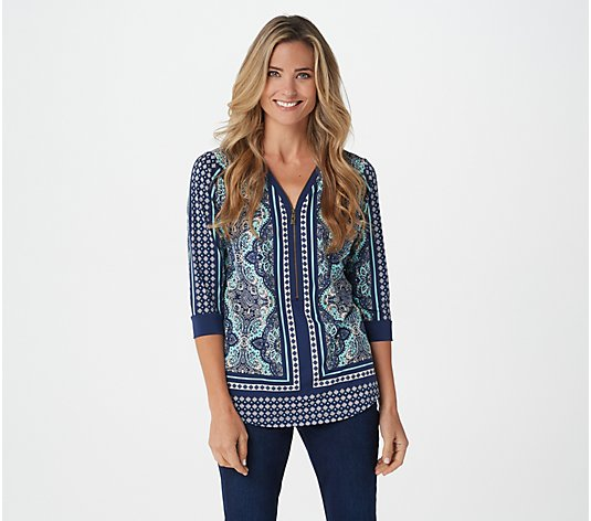 Belle by Kim Gravel Zip-Front Mixed Media Print Top