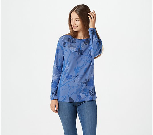 Quacker Factory Leaf Printed Top with Rhinestones