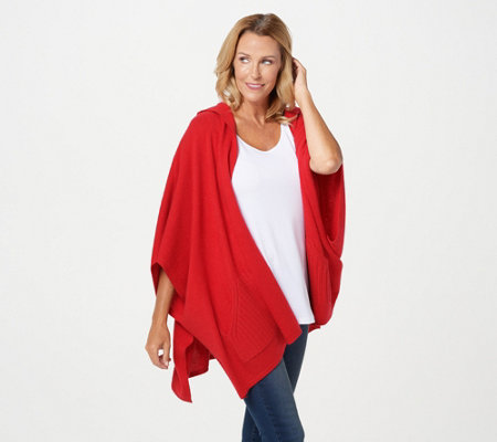 Isaac Mizrahi Live! 2-Ply Cashmere Hooded Ruana with Pockets