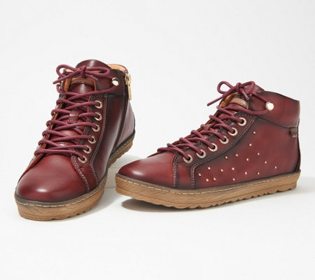 Pikolinos Leather Studded Lace-Up Sneakers