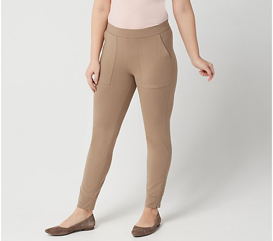 """As Is"" Susan Graver Petite Weekend Premium Stretch Legging Zipper Detail"