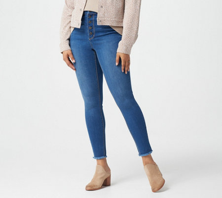 Du Jour Regular Button-Front Skinny Jeans