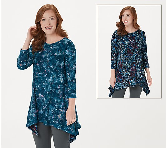 Attitudes by Renee Renee's Reversibles Bateau-Neck Dippy Tunic