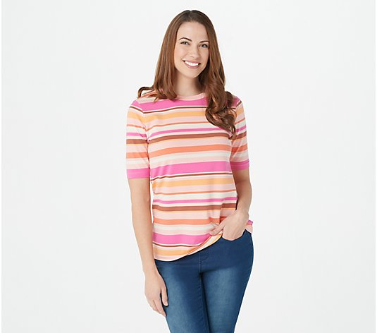 Isaac Mizrahi Live! Crew Neck Elbow-Sleeve Stripe Printed Knit Top