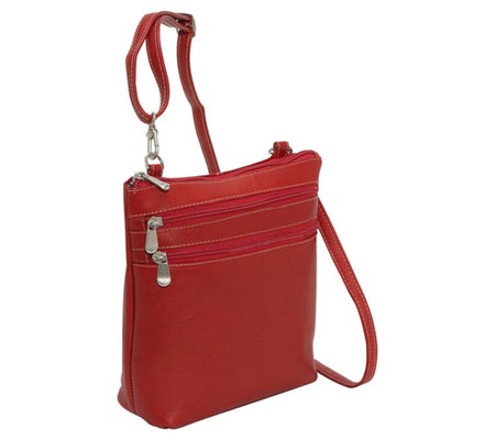 Le Donne Leather 3 Zip Crossbody Shoulder Bag