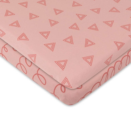 Ely's & Co. Set of 2 Pink Prints Bassinet Sheets