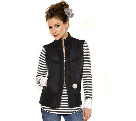 Nfl Touch By Alyssa Milano Steelers Womens Ruffle Vest Qvccom