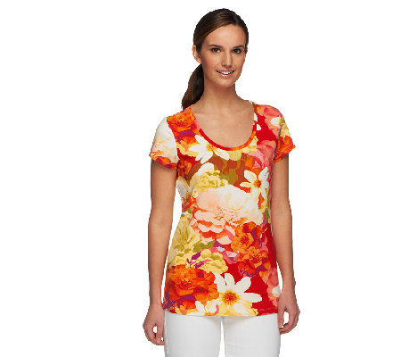Isaac Mizrahi Live! Short Sleeve Collage Floral Print T-Shirt