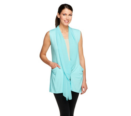 LOGO by Lori Goldstein Knit Vest with Chiffon Collar & Pockets
