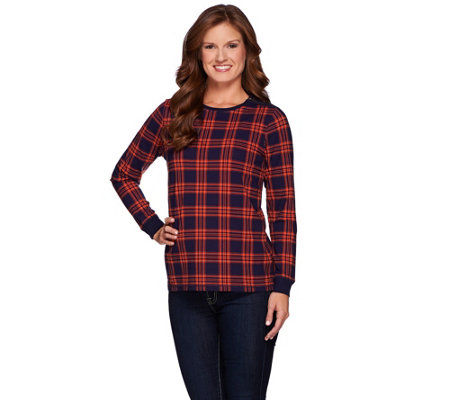 Denim & Co. Plaid Printed Crew Neck Top with Zipper Detail