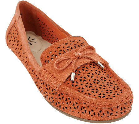 """As Is"" Isaac Mizrahi Live! Perforated Suede Moccasins with Bow"