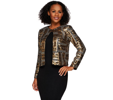 Bob Mackie's Long Sleeve Open Front Sequin Jacket