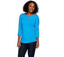 Denim & Co. Jersey 3/4 Sleeve Henley Top with Hi-Low Hem - A272131