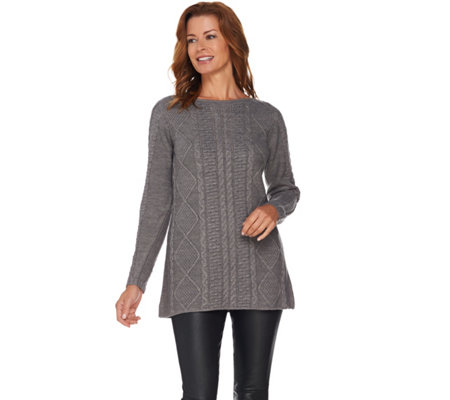 Susan Graver Novelty Stitch Sweater Knit Tunic
