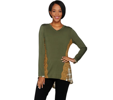 LOGO by Lori Goldstein Knit Top with Plaid and Lace Trims