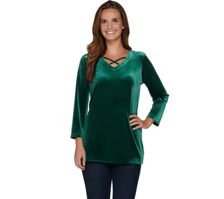 Quacker Factory Velour Bracelet Sleeve Tunic with Lattice Detail