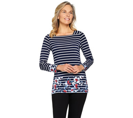 Susan Graver Printed Liquid Knit Long Sleeve Square Neck Top