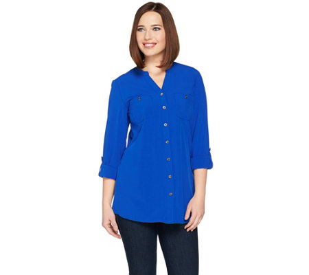 Denim & Co. Button Front Tunic Shirt with Y Neckline