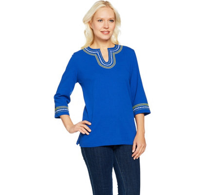 Denim & Co. 3/4 Sleeve Crinkle Gauze Top with Embroidery