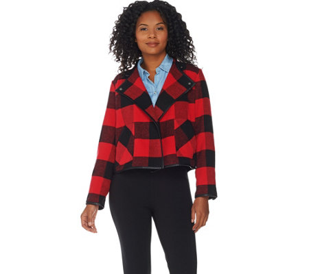 """As Is"" Studio by Denim & Co. Buffalo Plaid Printed Drape Front Jacket"