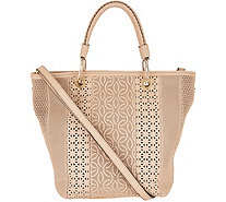 Plinio Visona Italian Leather Laser Cut Shopper - A293831