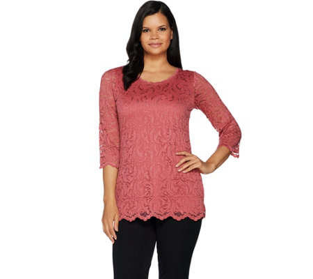 Isaac Mizrahi Live Stretch Floral Scroll Lace 3 4 Sleeve Tunic
