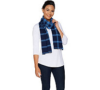 Isaac Mizrahi Live! Mixed Plaid Jacquard Knit Scarf - A295831