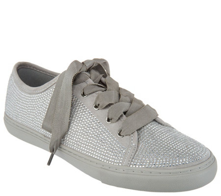 Isaac Mizrahi Live! SOHO Crystal Lace-Up Sneakers