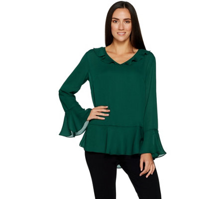 Belle by Kim Gravel V-Neck Blouse with Ruffle Details