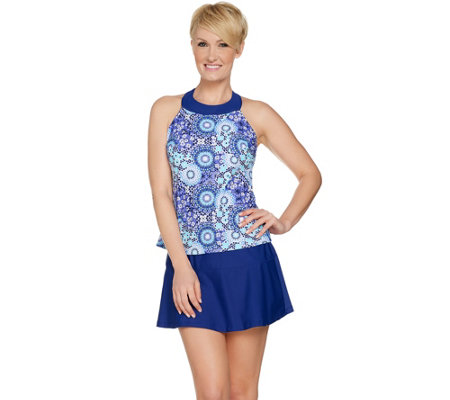 """As Is"" Ocean Dream Signature Floral Mosaic Hi Neck Tankini Swimsuit"