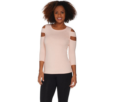 G.I.L.I. Scoop Neck 3/4-Sleeve Top with Shoulder Detail