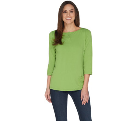Joan Rivers Jersey Knit Henley Top with 3/4 Sleeves