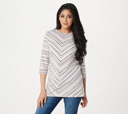 Denim Co Regular 3 4 Sleeve Striped Round Neck Tunic