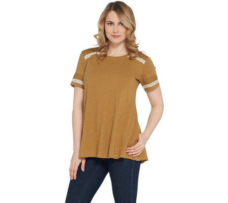LOGO by Lori Goldstein Cotton Slub Top with Pleated Sleeve Detail