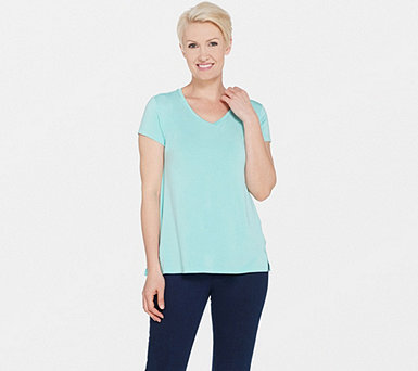 H by Halston Essentials V-Neck Top with Forward Notch Detail - A306231