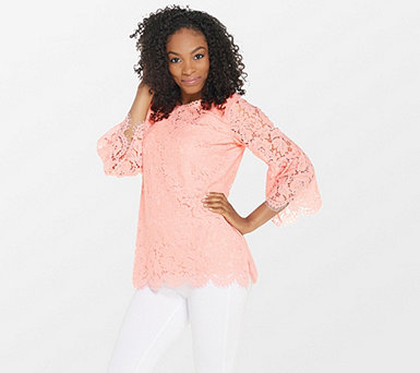Isaac Mizrahi Live! Floral Lace 3/4 Bell Sleeve Tunic - A306931