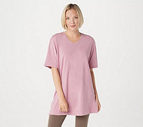 Denim & Co. Essentials Oversized V-Neck Top w/ Princess Seams - A309331