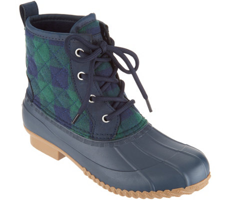"""As Is"" Isaac Mizrahi Live! Plaid Waterproof Mid- Shaft Boots"