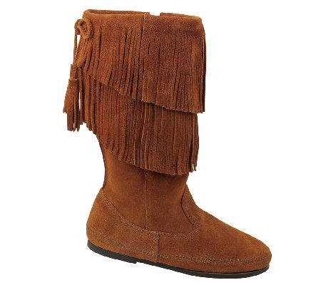 Minnetonka Mid Calf Two Layer Fringe Boots