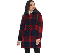 Isaac Mizrahi Live! Buffalo Plaid & Dot Coat with Faux Fur Collar - A344331