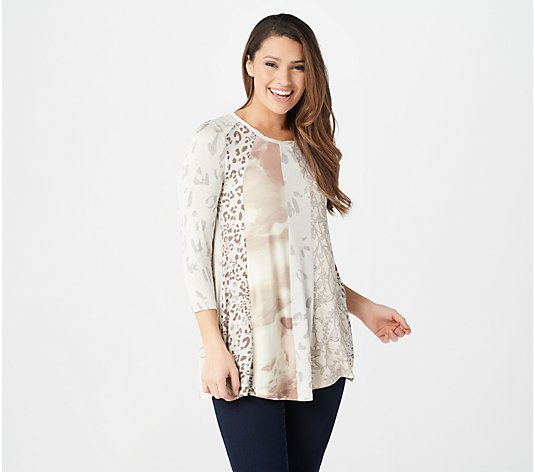 LOGO by Lori Goldstein Mixed Print Top w/ Twisted Neck Detail