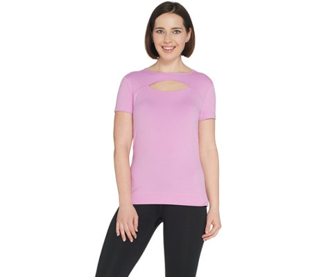 """As Is"" Susan Lucci Collection Cap Sleeve Tee w/ Peek & Ruching"