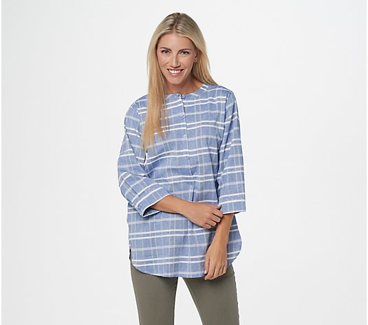 Joan Rivers Windowpane Tunic with 3/4-Sleeves