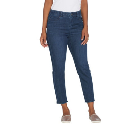 """As Is"" Kelly by Clinton Kelly Petite Crop Jeans with Frayed Hem"