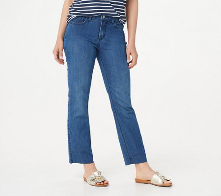 Nydj Marilyn Straight Ankle Jeans With Raw Hem Yucca
