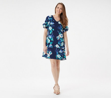 Isaac Mizrahi Live! Floral Printed Stretch Crepe Woven Swing Dress
